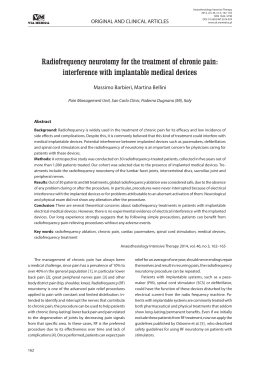 Radiofrequency neurotomy for the treatment of chronic pain