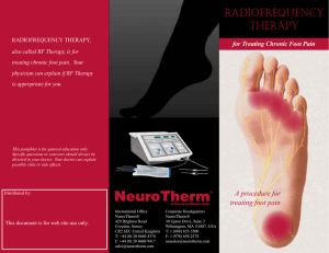 RADIOFREqUENCY THERAPY - Foot and Ankle Specialist Utah