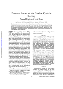 Pressure Events of the Cardiac Cycle in the Dog