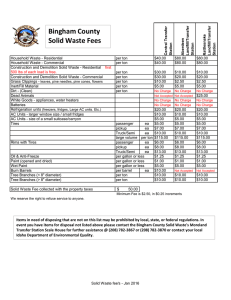 New Solid Waste Fees January 2016