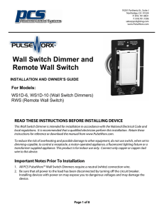 Wall Switch Installation Instructions