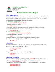 Differentiation with Maple