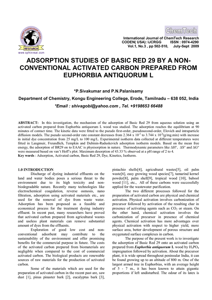 Adsorption Studies of basic Red 29 by A Non