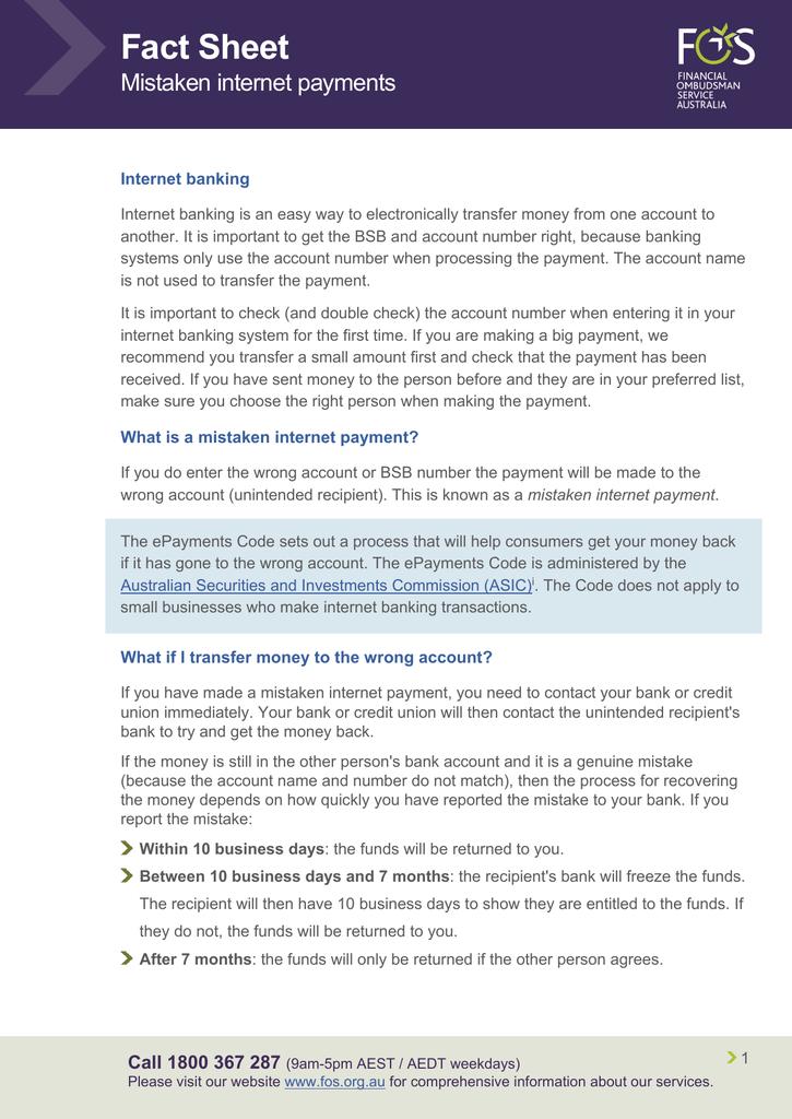 Mistaken internet payments - Financial Ombudsman Service