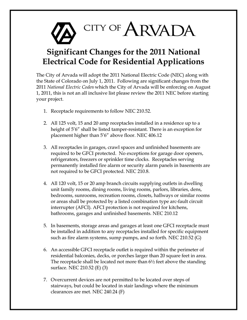 Significant Changes for the 2011 National Electrical Code