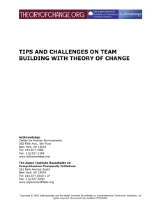 Tips and Challenges on Team Building with Theory of Change