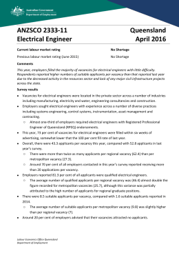 ANZSCO 2333-11 Queensland Electrical Engineer April 2016