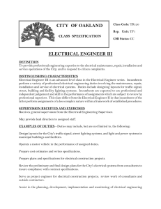 ELECTRICAL ENGINEER III CITY OF OAKLAND