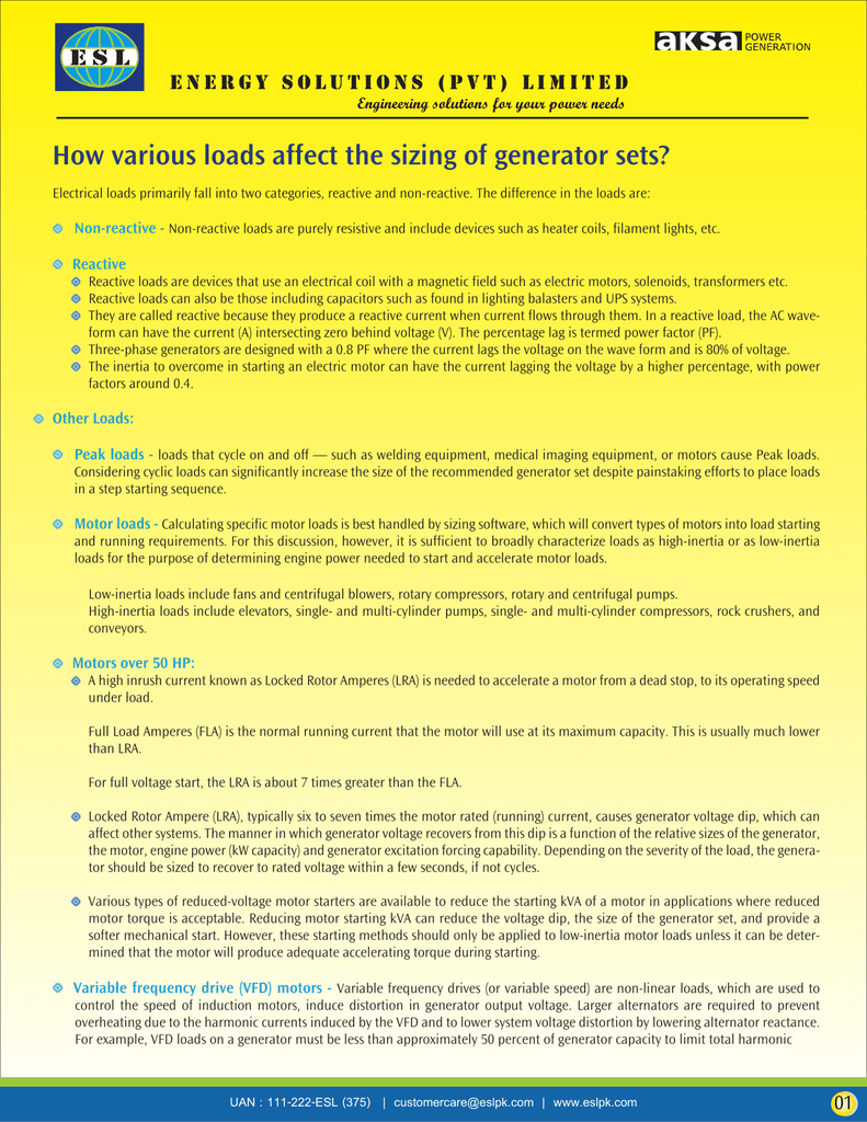 How various loads affect the sizing of generator