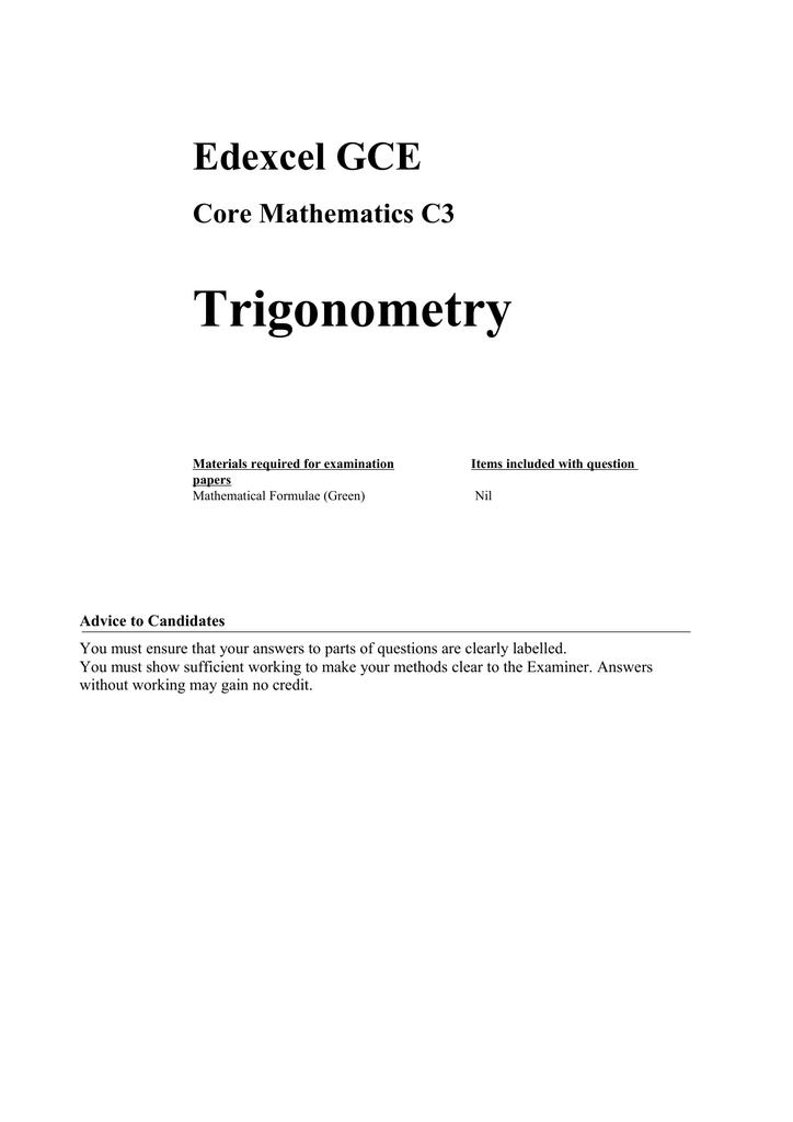 Trigonometry - Maths Genie