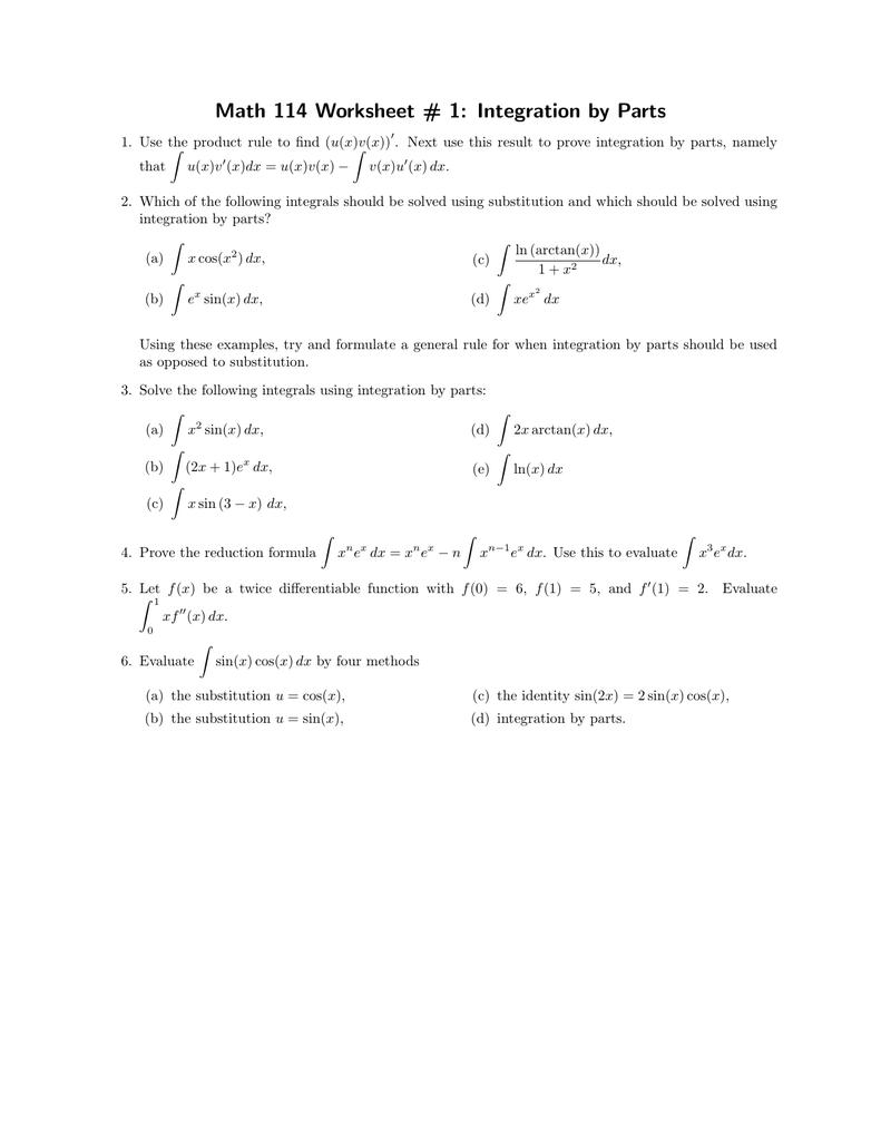 Worksheets Integration By Parts Worksheet math 114 worksheet 1 integration by parts