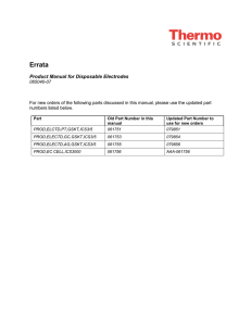 Product Manual for Disposable Electrodes