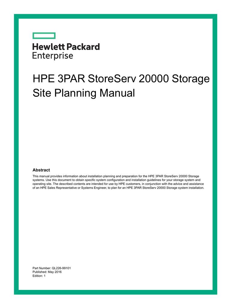 HPE 3PAR StoreServ 20000 Storage Site Planning Manual