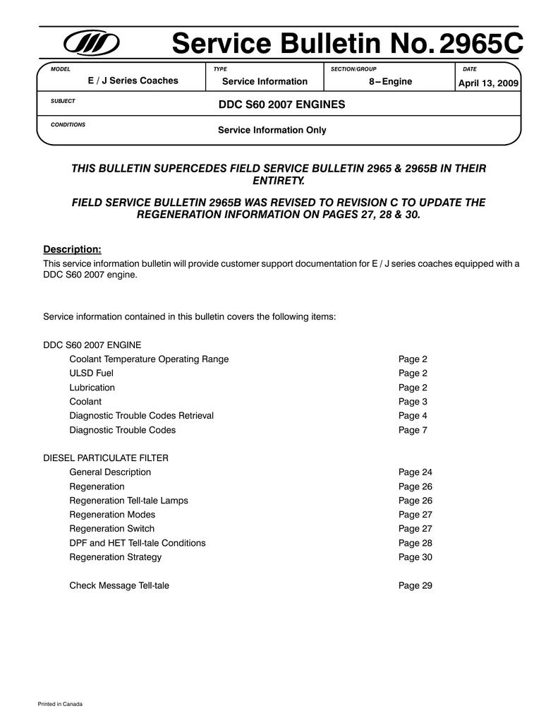 Service Bulletin No 2965C