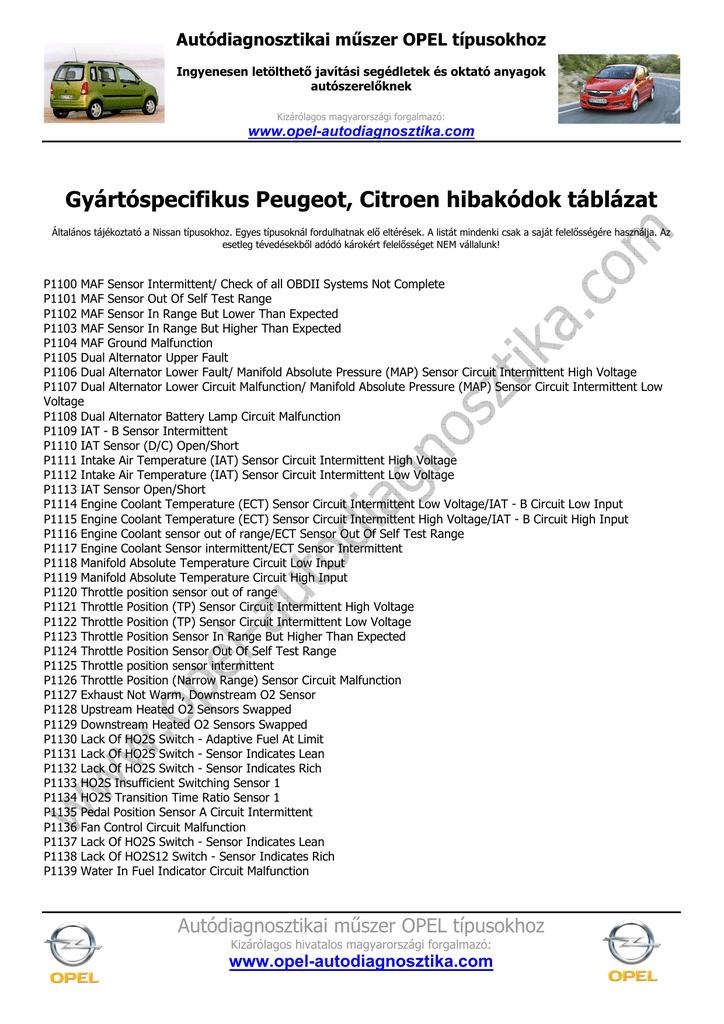 Peugeot Citroen hibakód táblázatok www opel