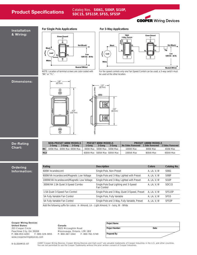Technical Datasheet Cooper Wiring Devices Diagrams