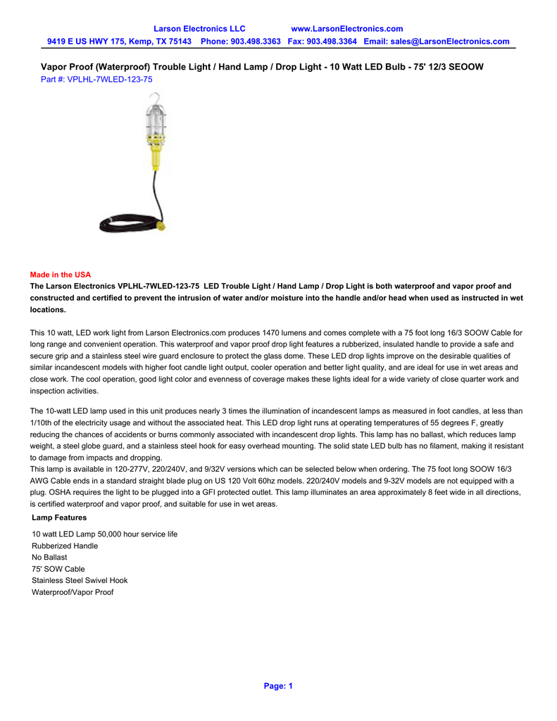 Larson Electronics C-SEOOW-16-3 Seoow 16//3