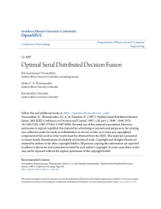 Optimal Serial Distributed Decision Fusion - OpenSIUC