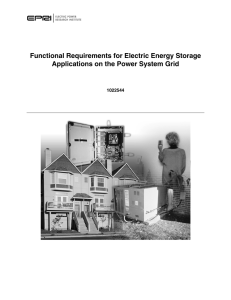 Functional Requirements for Electric Energy Storage Applications