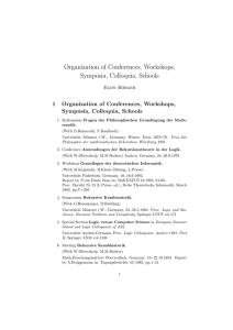 Organization of Conferences, Workshops, Symposia, Colloquia
