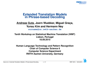 slides - Statistical Machine Translation