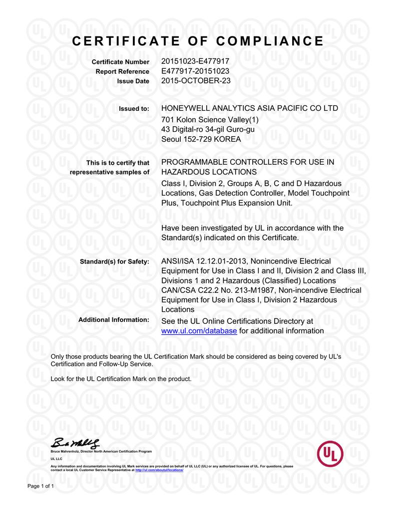 Certificate Honeywell Analytics