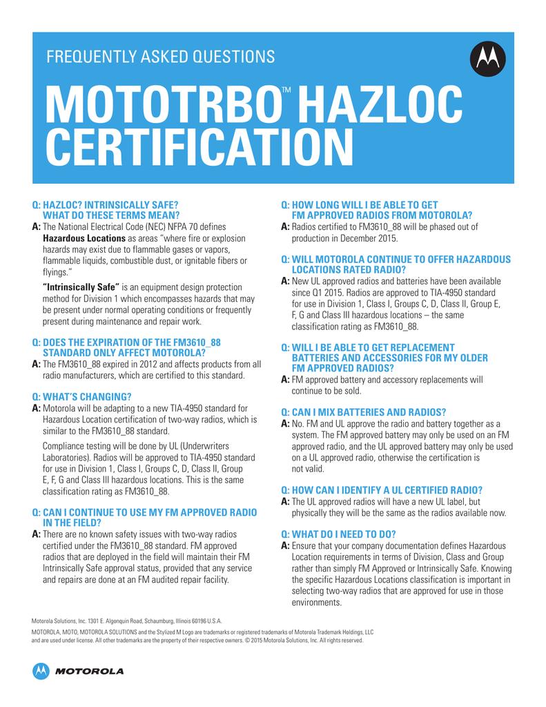 Mototrbo Hazloc Certification Ers