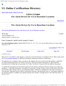Fire Alarm Devices for Use in Hazardous Locations