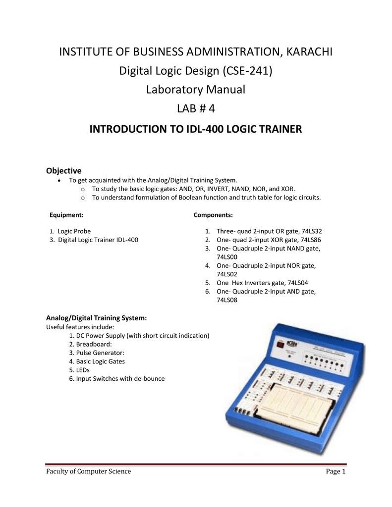 Laboratory Manual Lab 4 Logic Probe With Pulse