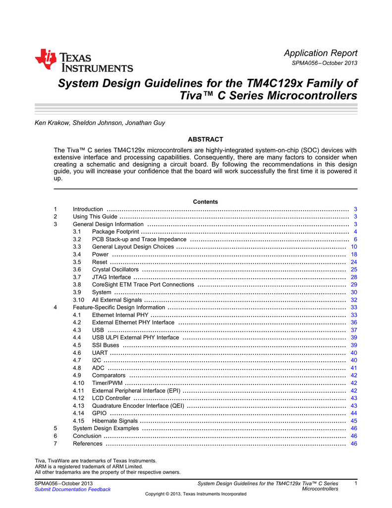 System Design Guidelines for the TM4C129x