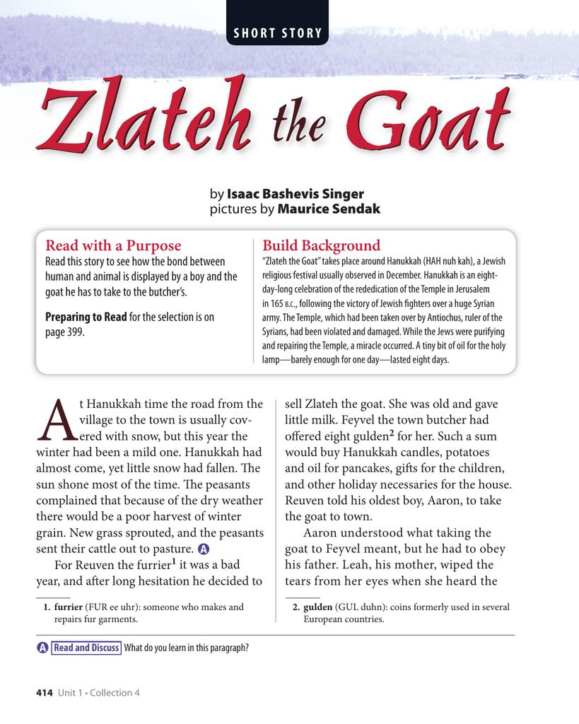 zlateh the goat essay topics