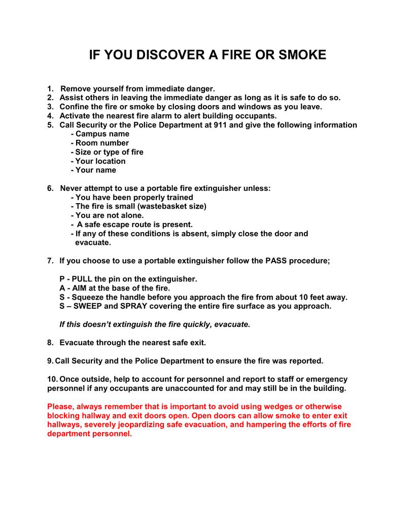 Fire or Smoke Procedures