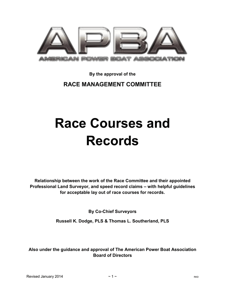 Race Courses and Records - American Power Boat Association