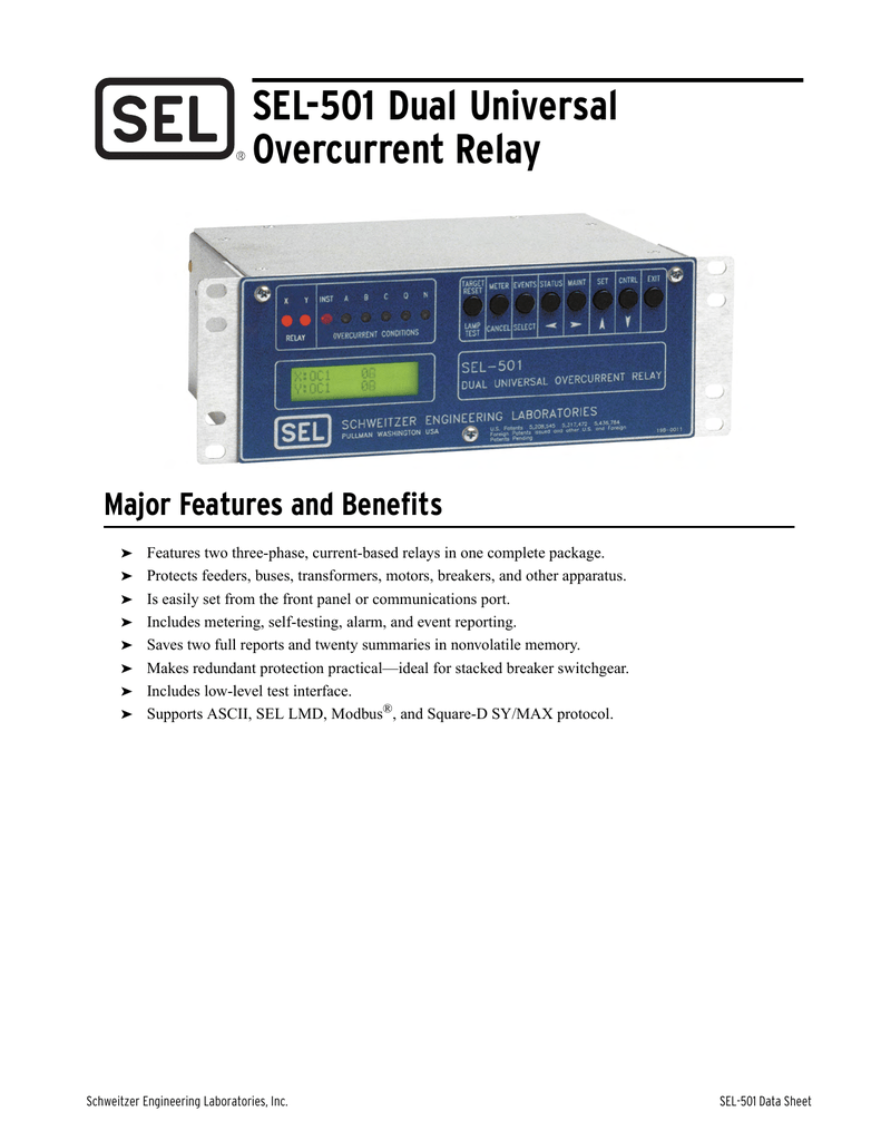 Sel 501 0 1 Data Sheet Current Level Relay