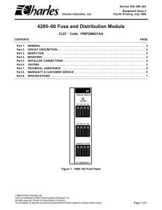 4285–00 Fuse and Distribution Module