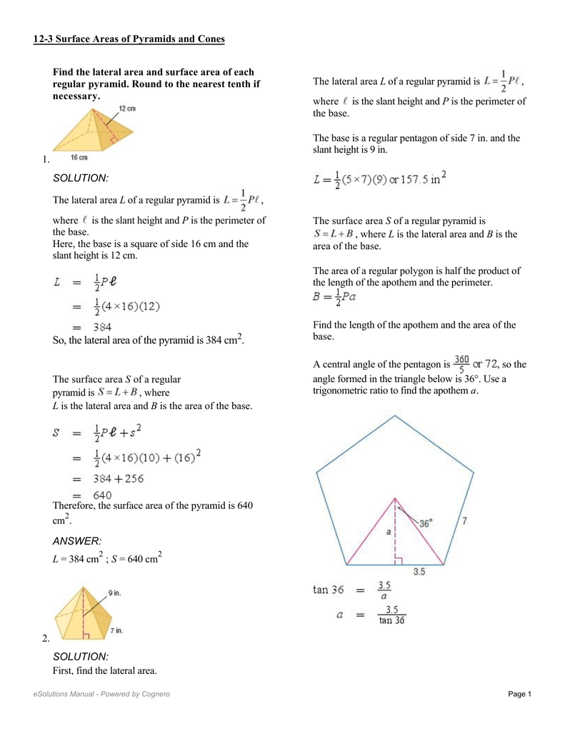 worksheet Surface Area Of Pyramids And Cones Duliziyou – Surface Area of Pyramids Worksheet
