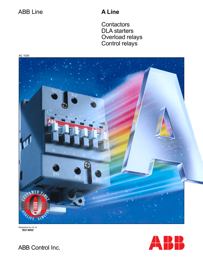 ABB Control Inc. A Line Contactors DLA starters Overload relays on