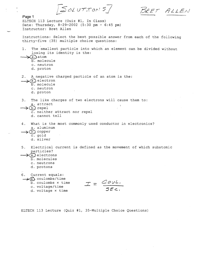 Quiz Solution 1 Electrical Relay