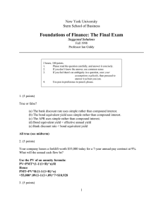 Foundations of Finance: The Final Exam
