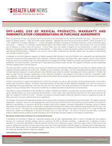 OFF-LABEL USE OF MEDICAL PRODUCTS: WARRANTY AND