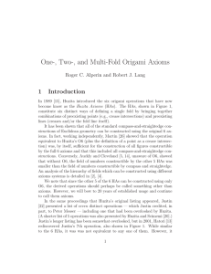 One-, Two-, and Multi-Fold Origami Axioms