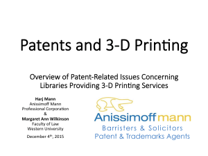 Patents and 3D Printing