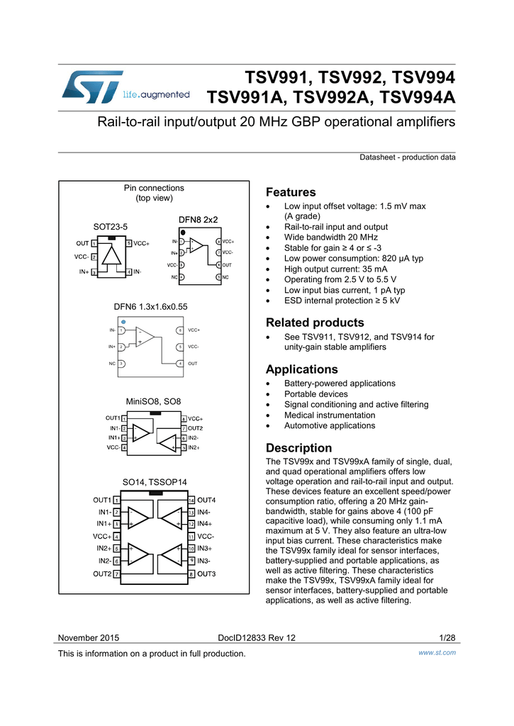 5X K129 TSV991AILT Rail-to-rail input//output 20MHz GBP operational amplifiers
