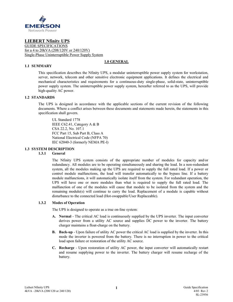 Liebert Nfinity, 4-20kVA