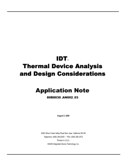 Thermal Device Analysis and Design Considerations Application Note