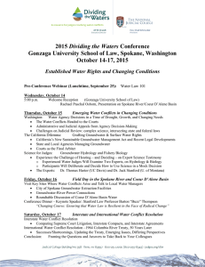 2015 Dividing the Waters Conference Gonzaga University School of