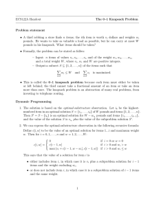 ECS122A Handout The 0 -1 Knapsack Problem Problem statement
