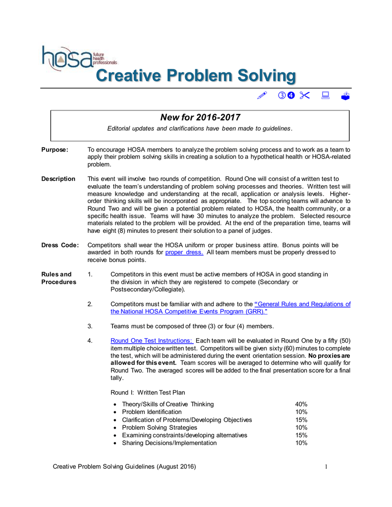 hosa creative problem solving test questions