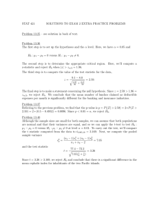 Exam 2 - Solutions to some Practice Problems from Chap13