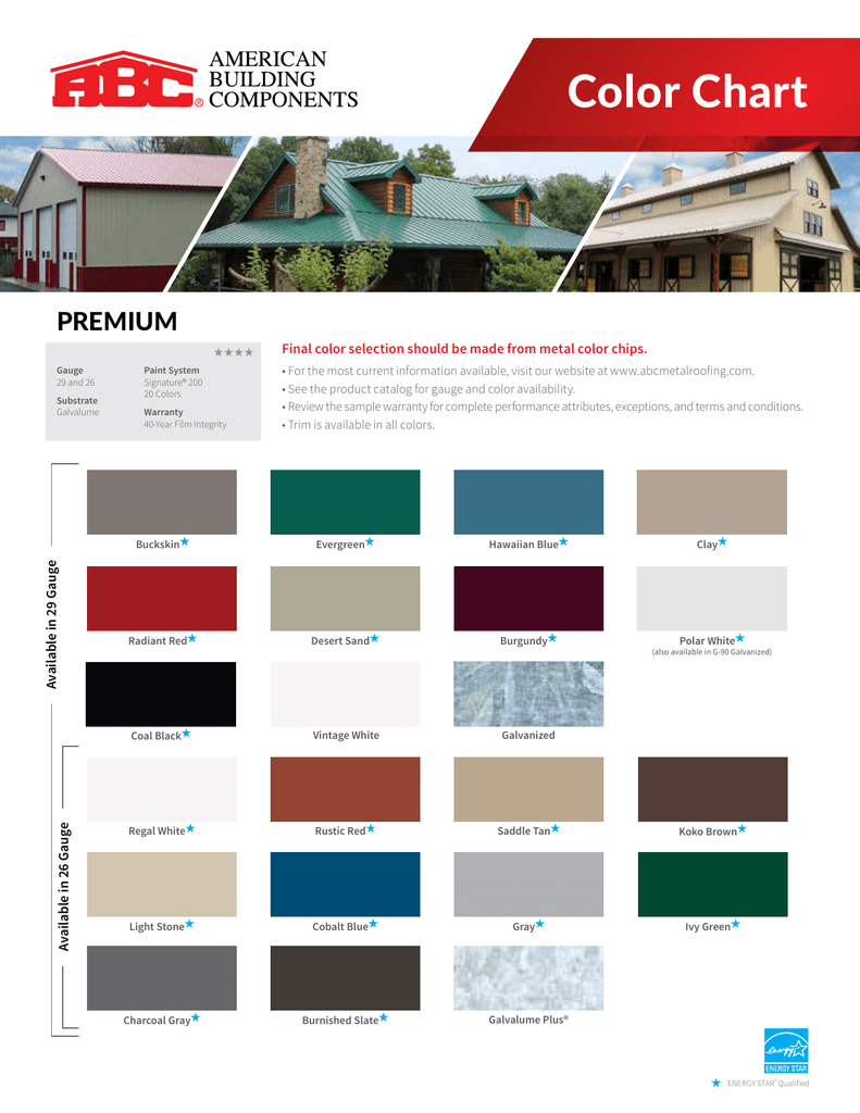 Color Chart Abc Metal Roofing
